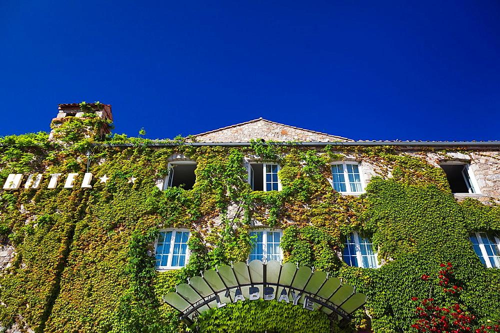 France, Corsica, Haute-Corse Department, La Balagne Region, Calvi, detail of Le Abbaye hotel