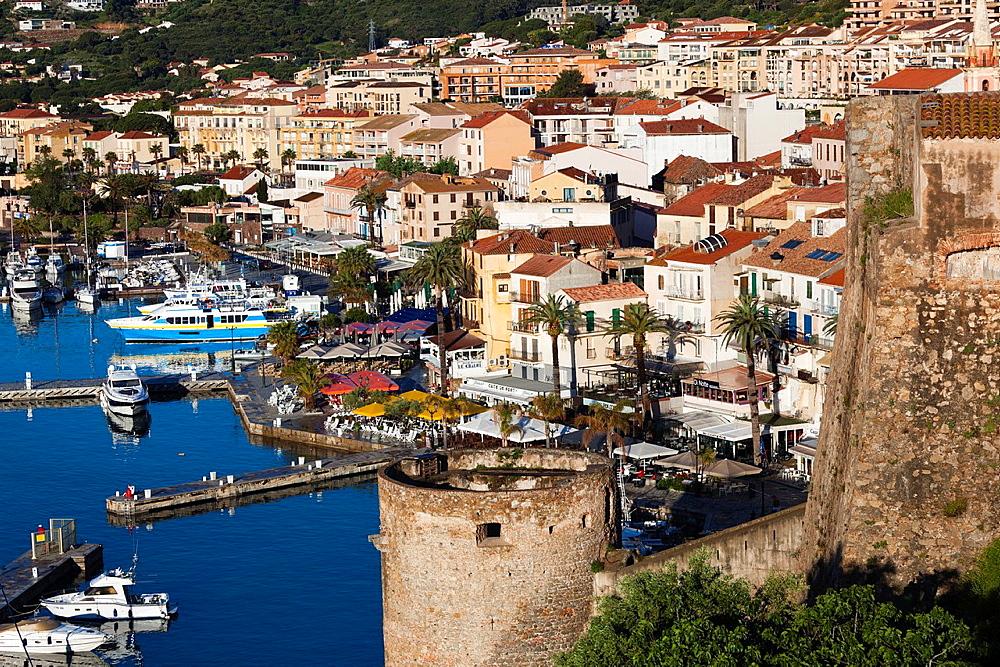 France, Corsica, Haute-Corse Department, La Balagne Region, Calvi, elevated view of the Port de Plaisance port, morning