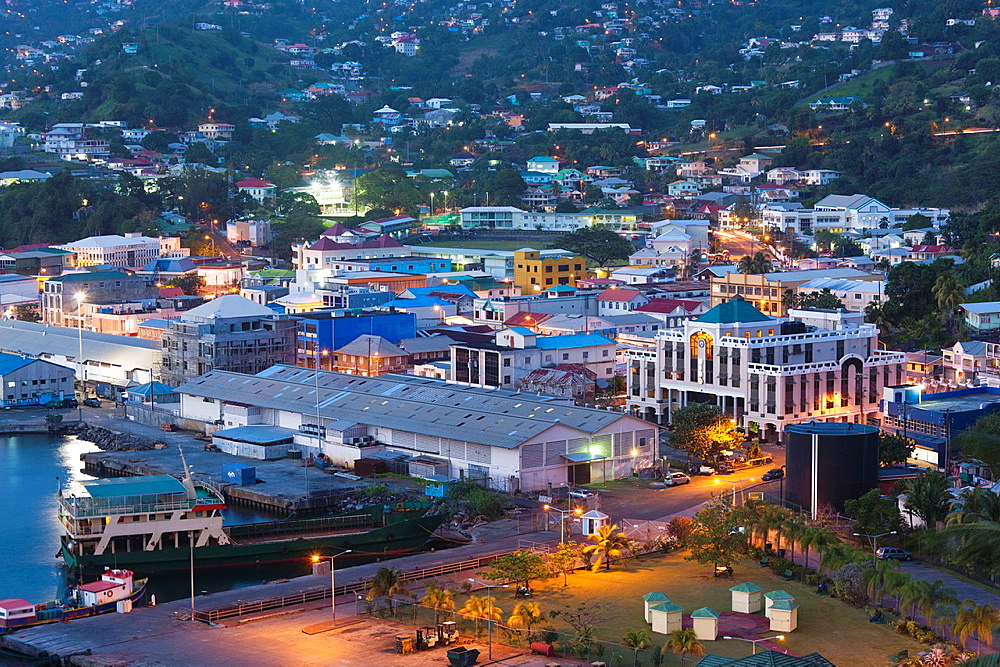 St Vincent and the Grenadines, St Vincent, Kingstown, elevated city view, dusk