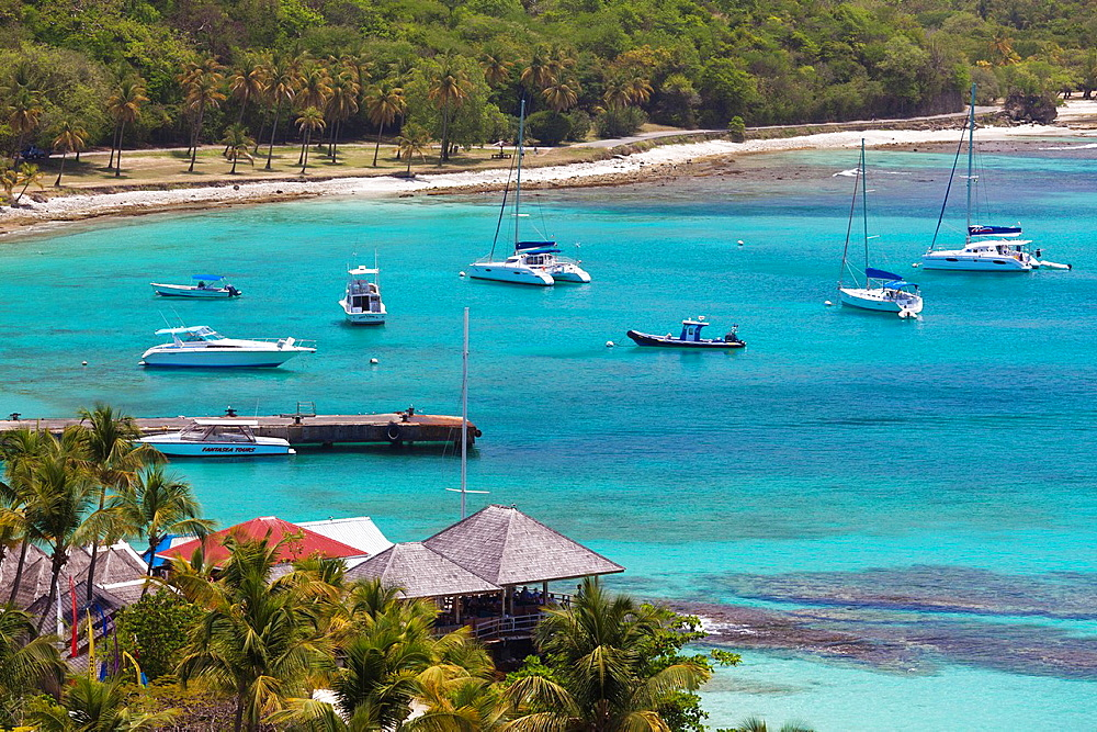 St Vincent and the Grenadines, Mustique, Britannia Bay, elevated view