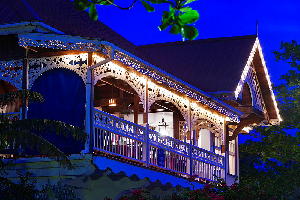 St Vincent and the Grenadines, Bequia, Port Elizabeth, Gingerbread House Hotel, dusk