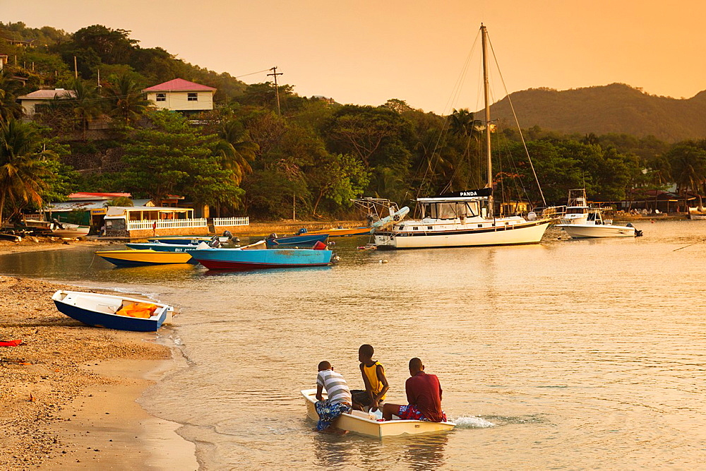 St Vincent and the Grenadines, Bequia, Port Elizabeth, Admiralty Bay, dusk