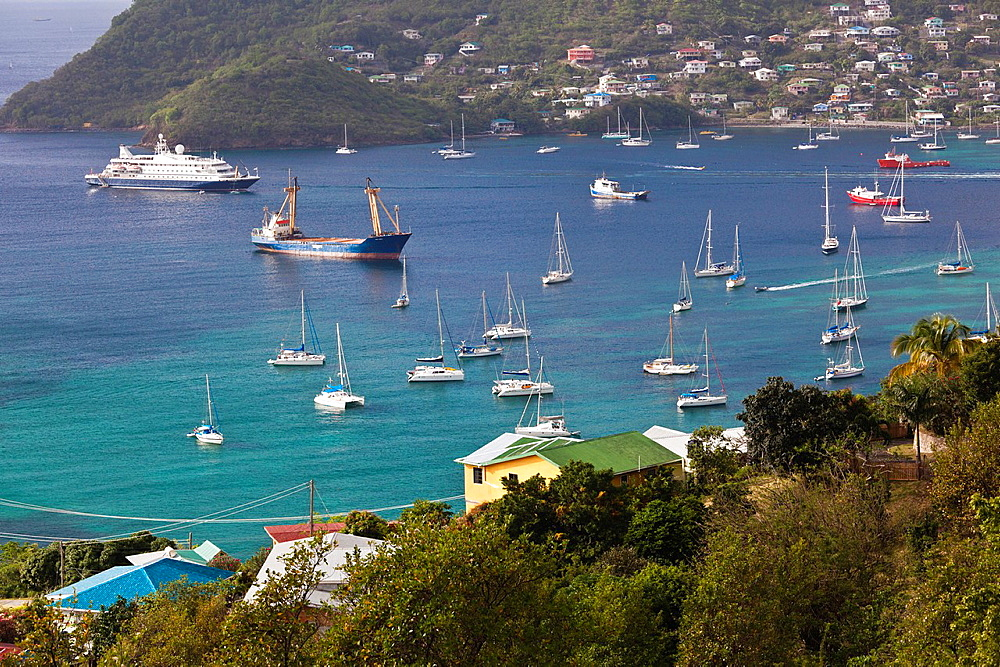 St Vincent and the Grenadines, Bequia, Port Elizabeth, Admiralty Bay, elevated view