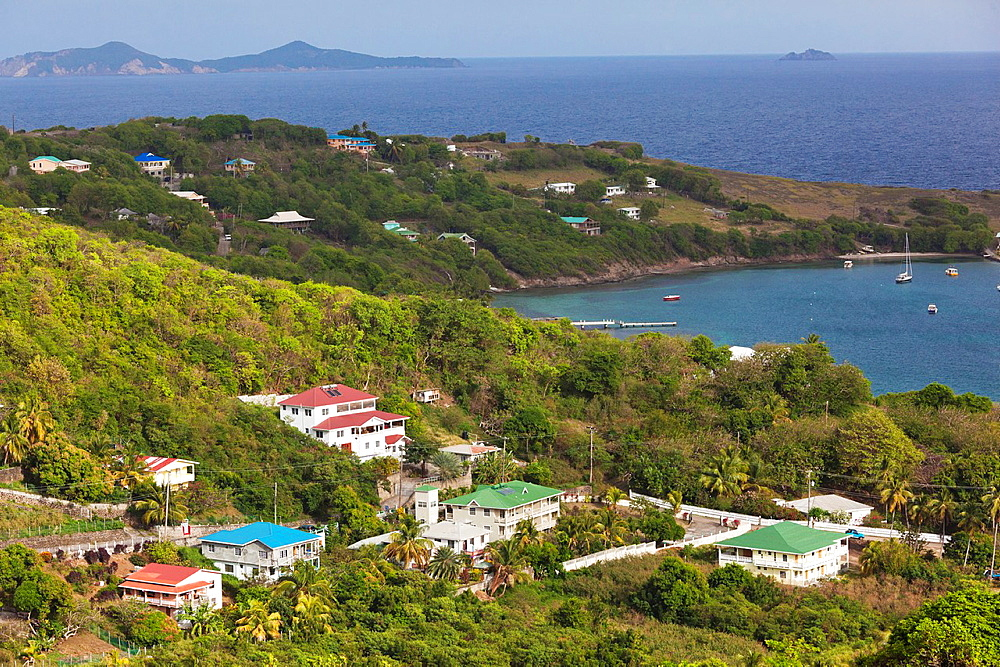 St Vincent and the Grenadines, Bequia, Friendship Bay, elevated view