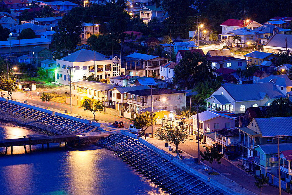 St Vincent and the Grenadines, St Vincent, Leeward Coast, Layou, elevated town view, dusk