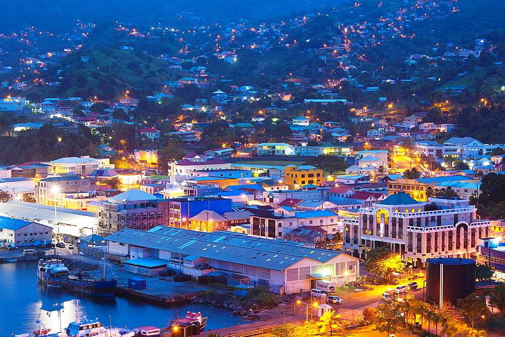 St Vincent and the Grenadines, St Vincent, Kingstown, elevated city view, dawn