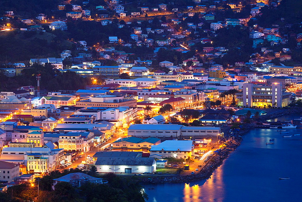 St Vincent and the Grenadines, St Vincent, Kingstown, elevated city view from Fort Charlotte, dusk