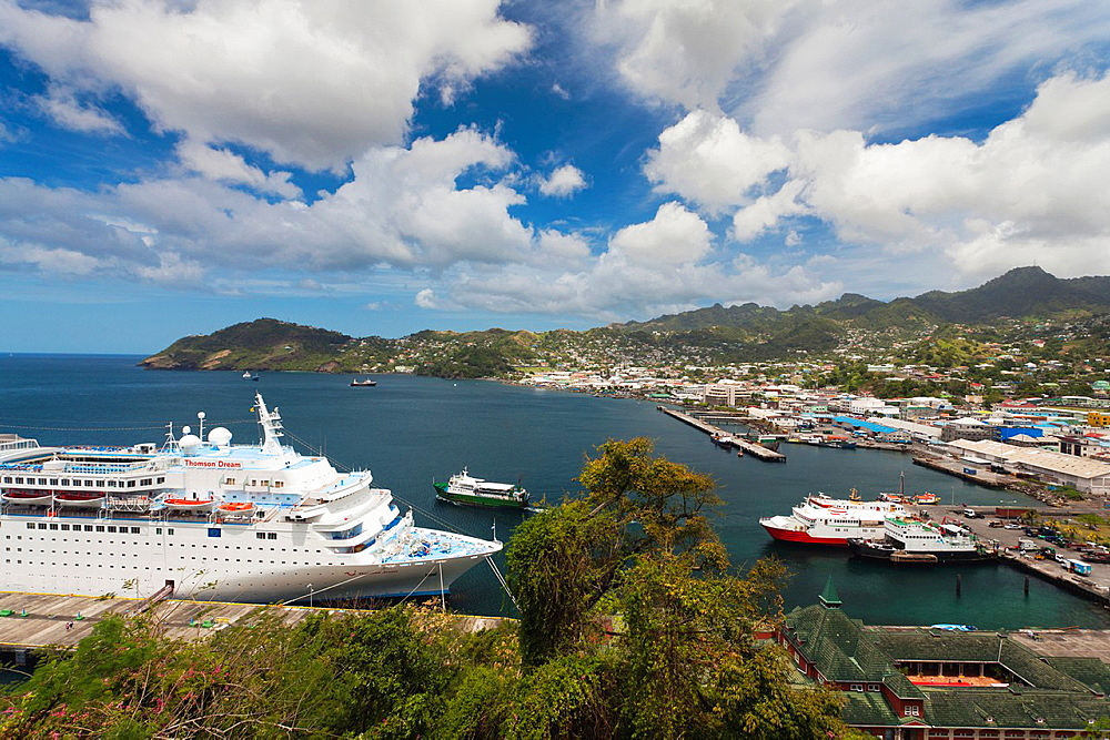 St Vincent and the Grenadines, St Vincent, Kingstown, elevated view of cruiseship
