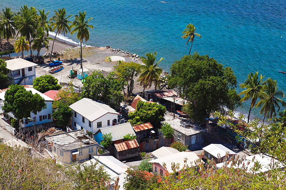 Dominica, Colihaut, elevated town view