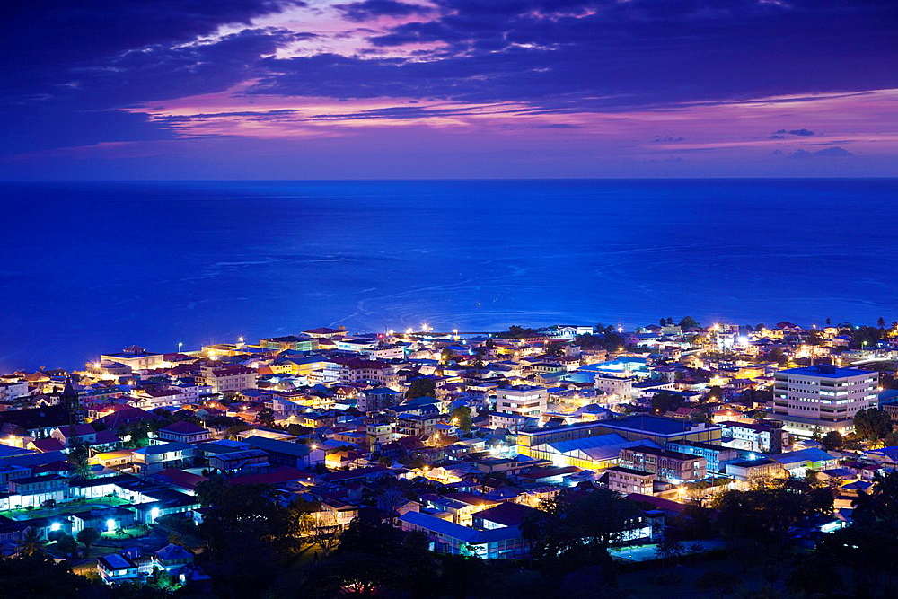 Dominica, Roseau, elevated town view, dusk