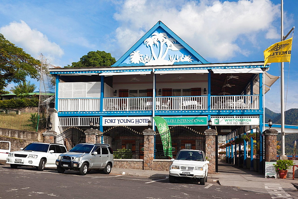 Dominica, Roseau, Fort Young Hotel, shopping area