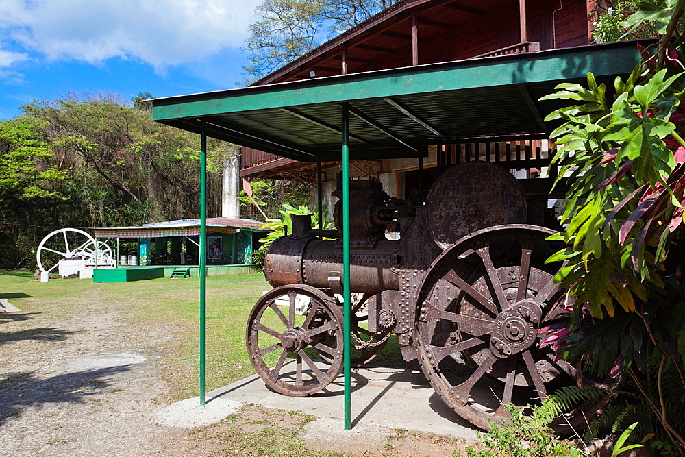Dominica, Roseau, old sugar mill arts complex, british-made machinery