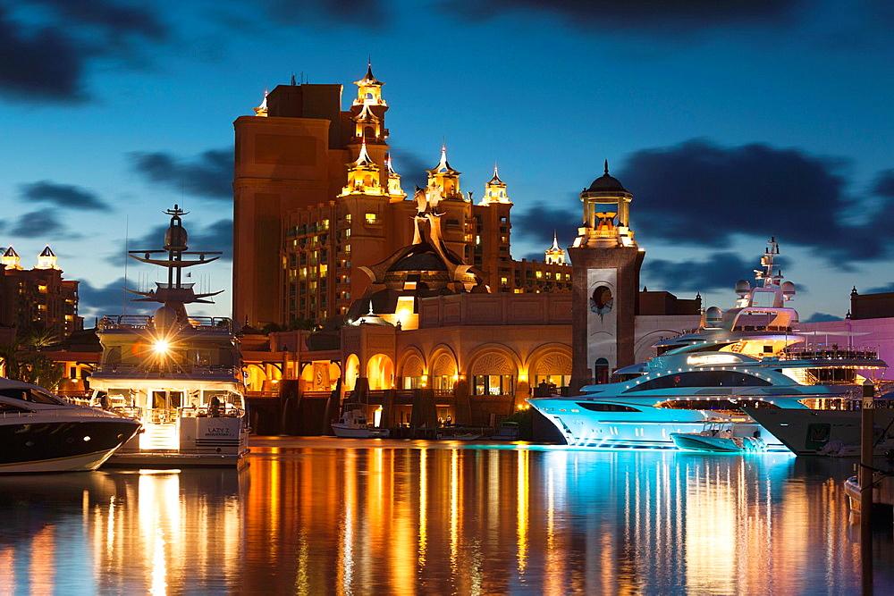 Bahamas, New Providence Island, Nassau, Paradise Island, Atlantis Hotel and Casino, dusk
