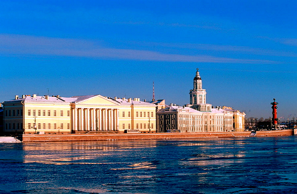 Peter the Great's Museum of Anthropology and Ethnography (Kunstkammer), Science Academy and Neva River, St, Petersburg, Russia