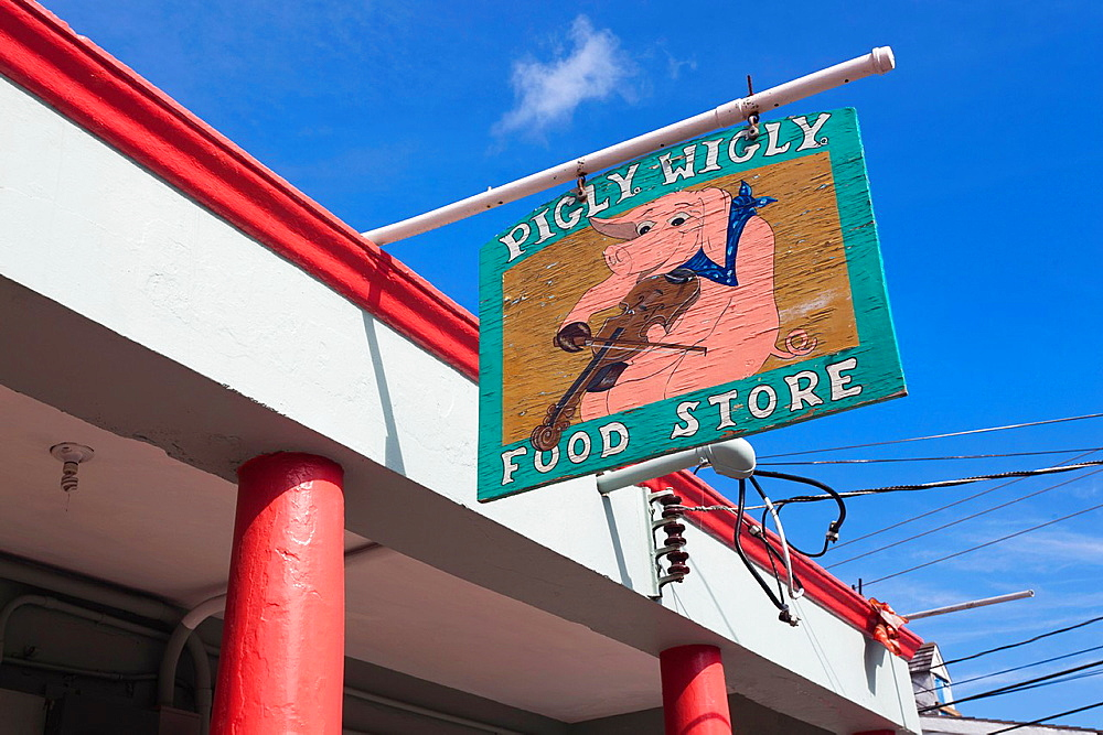 Bahamas, Eleuthera Island, Harbour Island, Dunmore Town, sign for the Piggly Wiggly Food Store