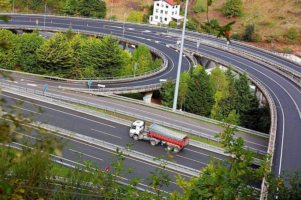 Traffic, Highway, Eibar, Gipuzkoa, Basque Country, Spain.
