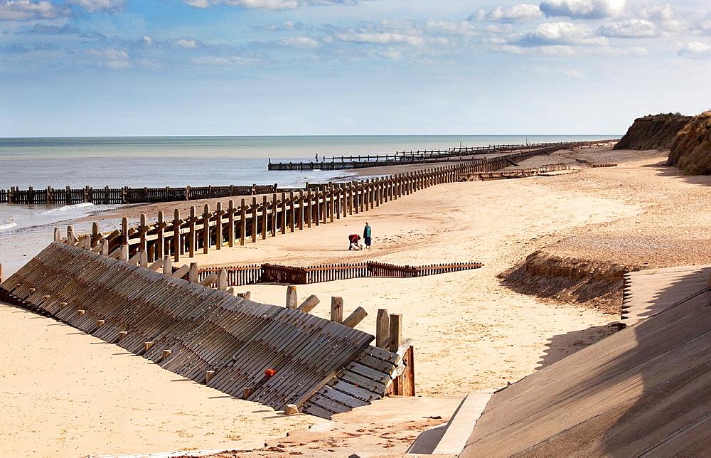 Repairs to Groynes Walcott Norfolk UK Septemberr