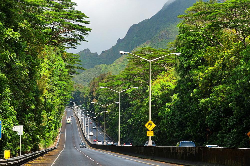 USA, Hawaii, Oahu, Honolulu Pali Highway, RT 61, through the Koolau mountains