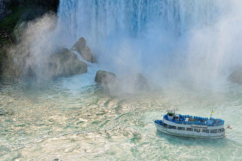 Maid of the Mist tour boat on the Niagara River, Niagara Falls, Ontario, Canada