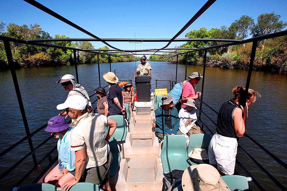 Boat cruise on the Djarradjin Billabong in Kakadu National Park Northern Territory, Australia