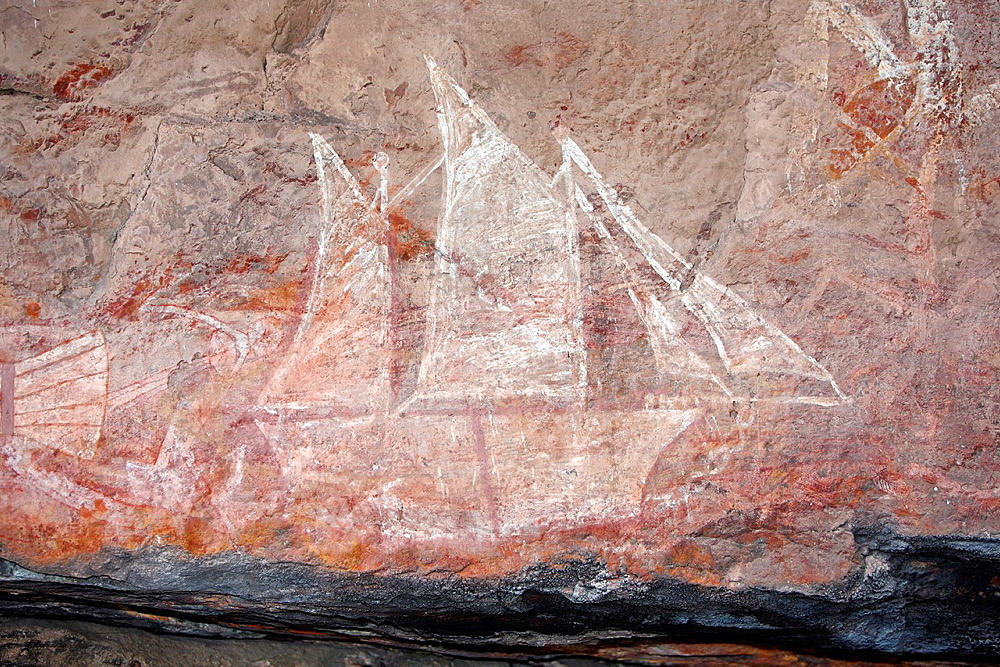 Aboriginal rock art depicting a sailing ship, so-called contact-art Kakadu National Park, Northern Territory, Australia