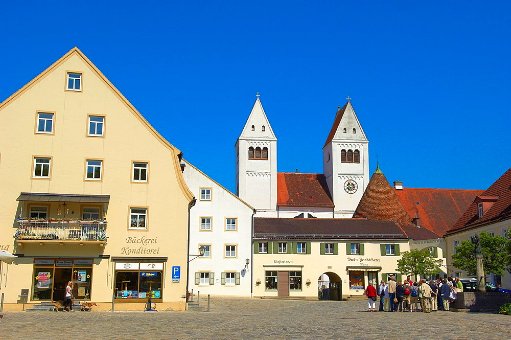 Steingaden, Upper Bavaria, St John the Baptist, Abbey church in Steingaden market place, Bavaria, Germany.