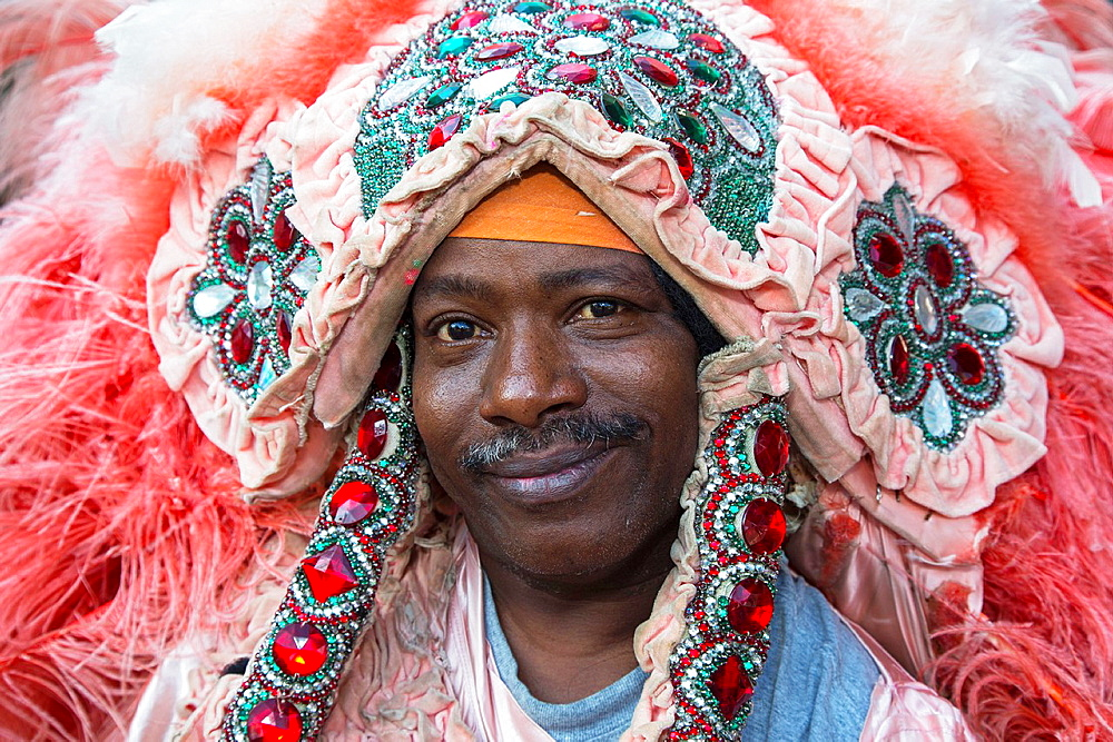 New Orleans, Louisiana, An African-American man dressed in costume in the French Quarter