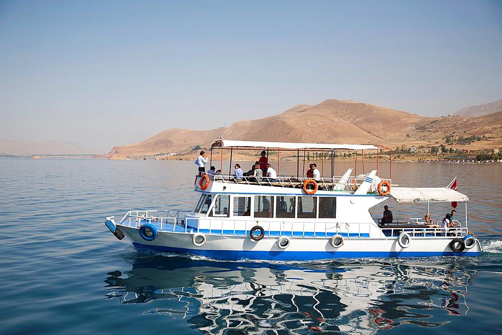 tourist boat, lake van, south-eastern anatolia, turkey, asia