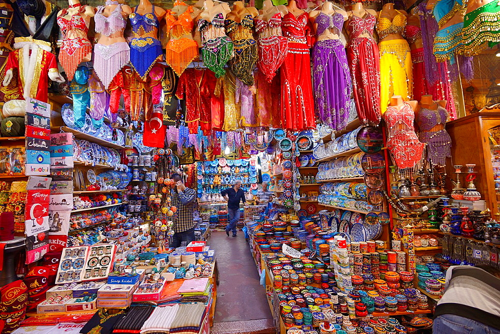 Shop in the Egyptian Spice Bazaar Istanbul with belly dancing costumes and ceramic