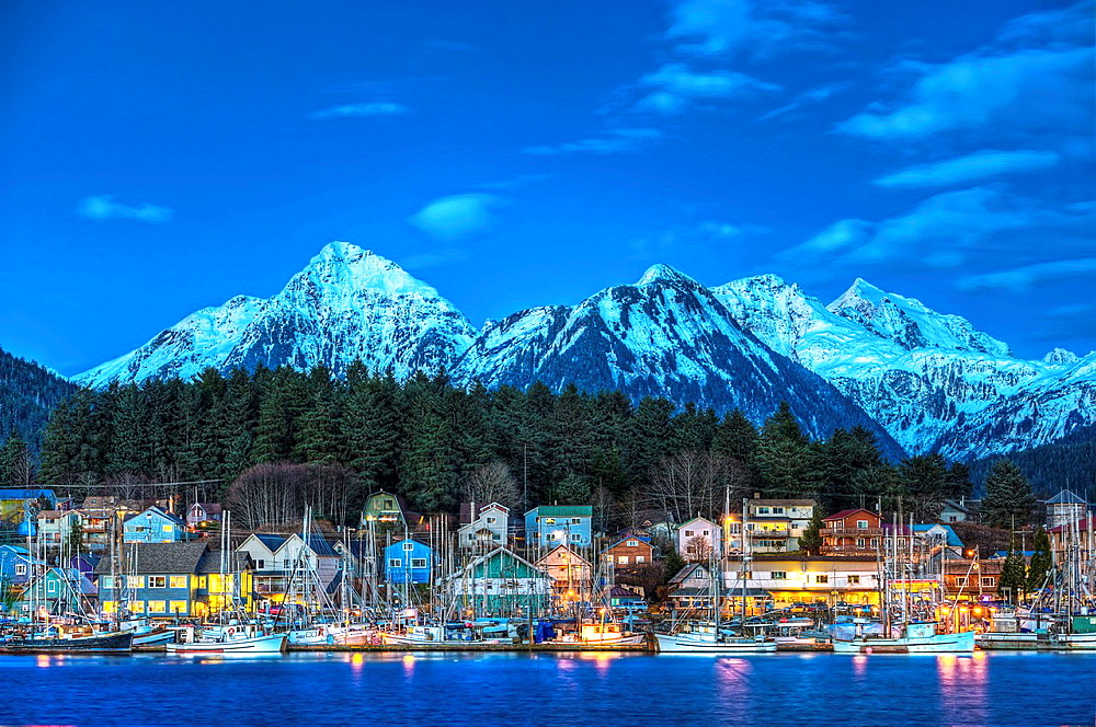 View of quaint Alaskan village at sunset, Sitka, Alaska, USA