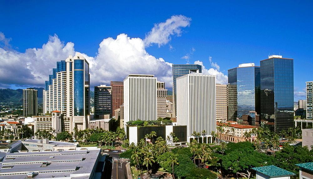 USA, Hawaii, Oahu, Honolulu, skyline