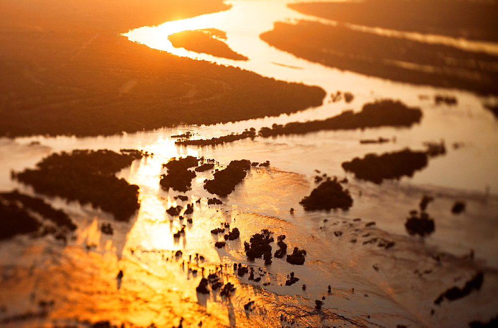 Aerial view of the Zambezi river, tilt shift effec