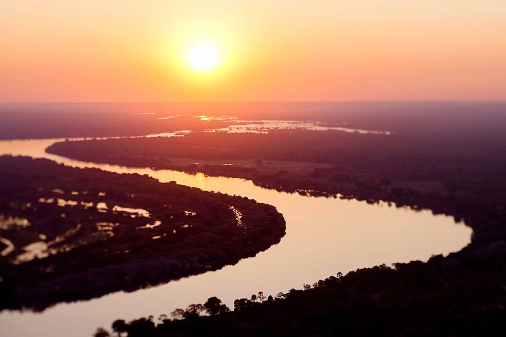 Aerial view of the Zambezi river, tilt shift effect