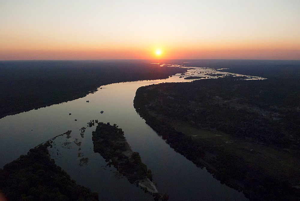 Aerial view of the Zambezi rive