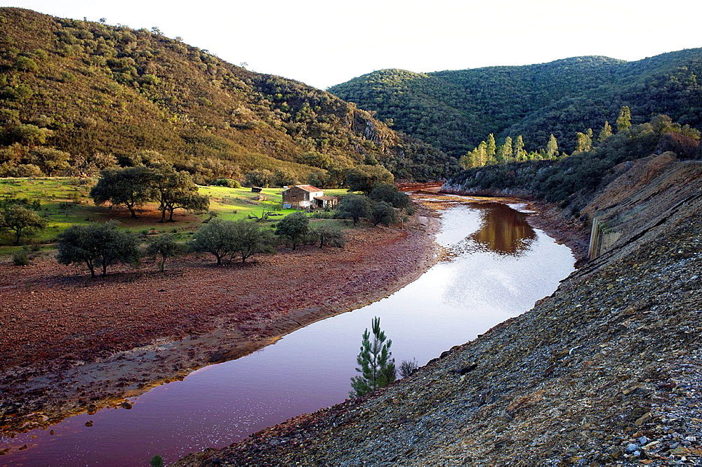 landscape at sunset with country house next to the Rio Tinto, Sierra de Huelva, Andalucia, Spain, Europe