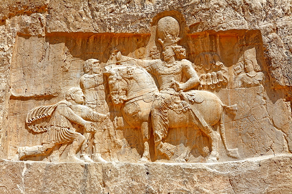 The triumph of Shapur I at Naqsh-e Rostam necropolis near Persepolis, Iran