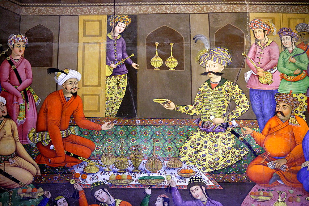 Fresco at Chehel Sotoun palace showing the reception assembly of Shah Abbas for Vali Mohammad Khan, Isfahan, Iran