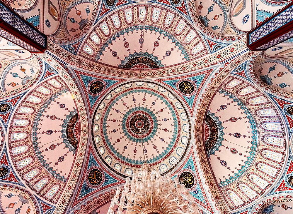 Mosque Merkez Kulliye of Manavgat near Antalya, Mosaic cupolas, Turkey