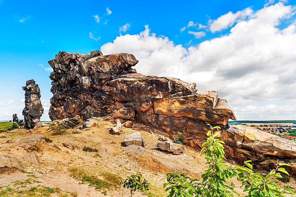 The Mittelsteine, middle Stones, near Weddersleben are part of the Teufelsmauer. The Teufelsmauer Devil's Wall is a rock formation made of hard sandstones, Harz district, Saxony-Anhalt, Germany, Europe