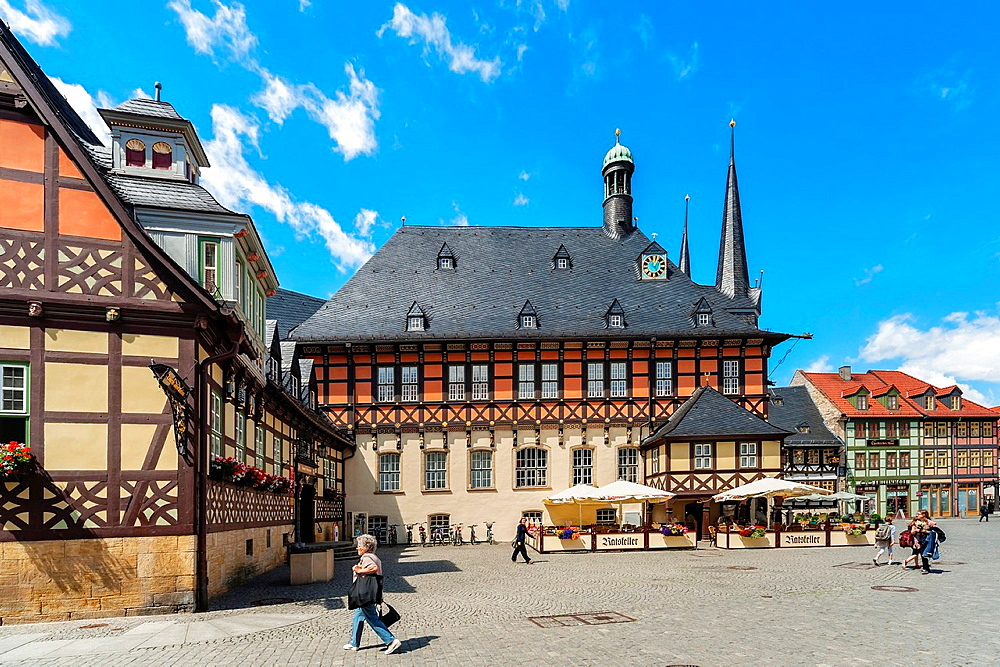 The City Hall of Wernigerode is considered one of the most beautiful City Halls in Europe, Wernigerode, Harz, Saxony-Anhalt, Germany, Europe, No Model Release available!