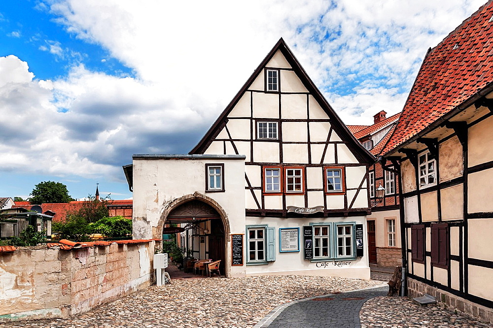 Cafe Kaiser at Finkenherd 8 The Cafe is famous for its more than 30 types of waffle, Quedlinburg, Saxony-Anhalt, Germany, Europe