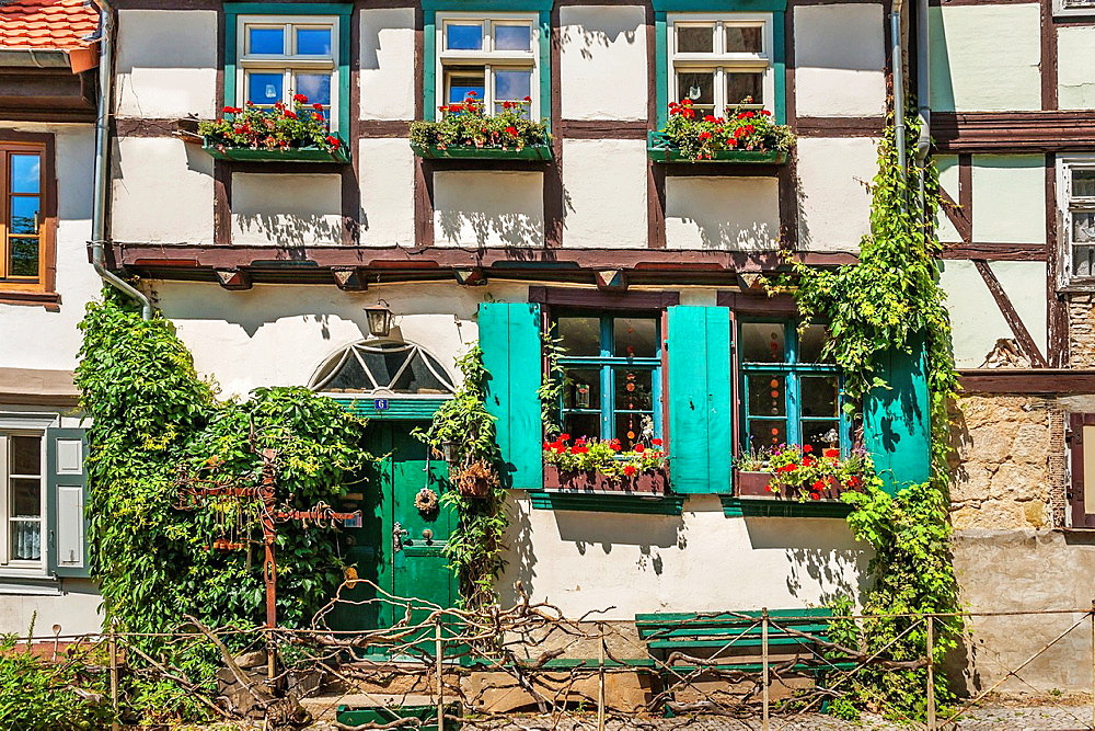 House in the alley at Schlossberg in Quedlinburg, below the Castle and Collegiate Church of St Servatius, Quedlinburg, Saxony-Anhalt, Germany, Europe