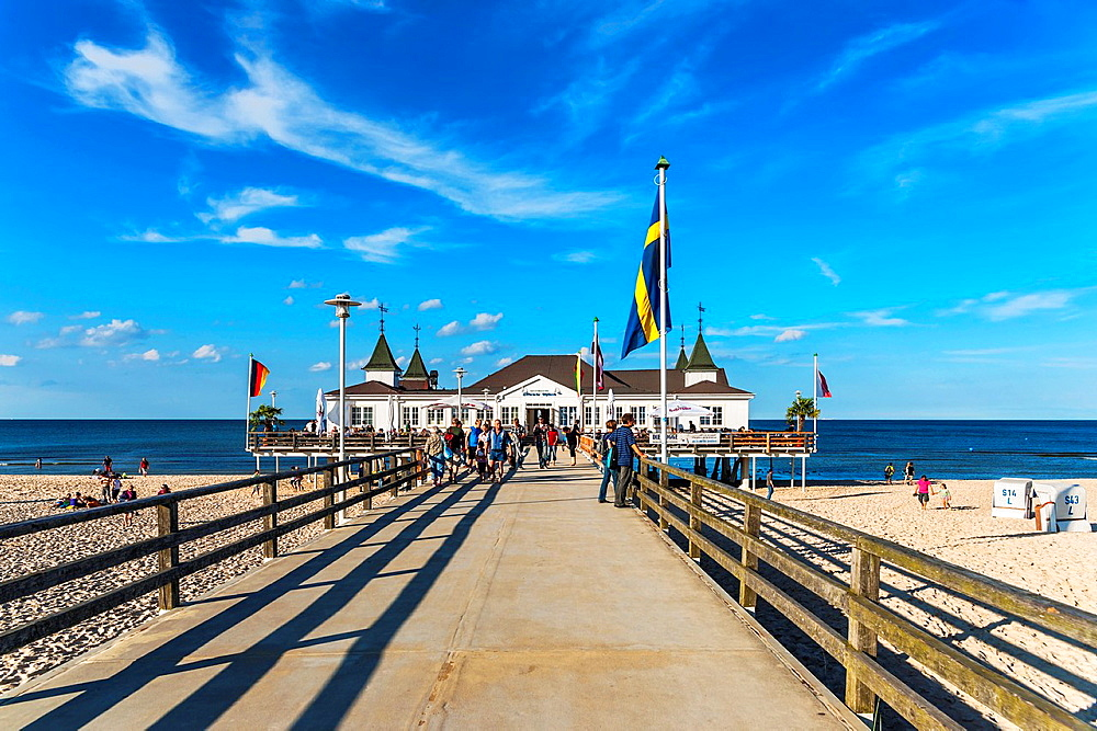 The Ahlbeck pier is a pier on the Baltic Sea The pier is 280 meters long It was built in 1882 and rebuilt several times, Ahlbeck, Usedom Island, County Vorpommern-Greifswald, Mecklenburg-Western Pomerania, Germany, Europe, No Model Release available!