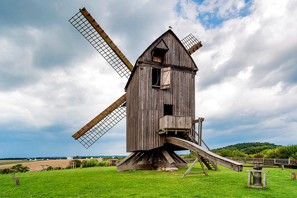 In 1779 built windmill, post mill, Pudagla, Usedom Island, County Vorpommern-Greifswald, Mecklenburg-Western Pomerania, Germany, Europe, No Property Release available!