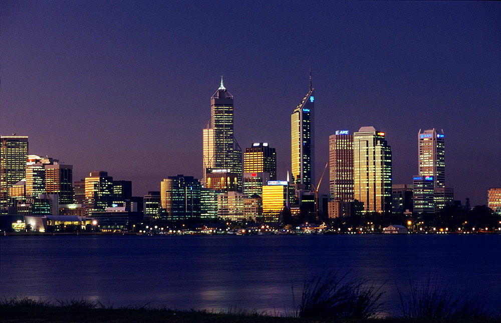 Perth city on Swan River, Western Australia