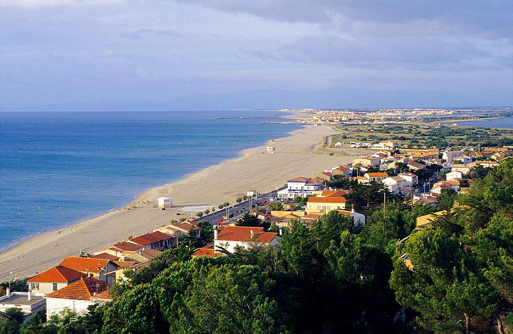Radieuse coast and Leucate plage village, Aude,Languedoc-Rousillon, France