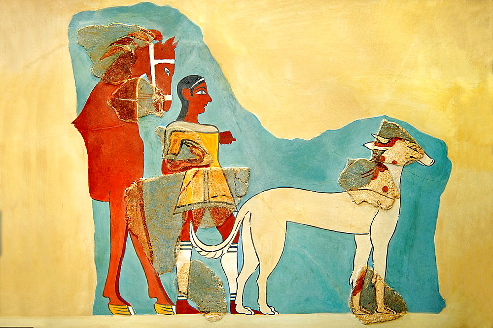 Mycenaean Fresco wall painting of a Mycanaean with horse & wild boar hunting dog from the Tiryns, Greece 14th, 13th Century BC Athens Archaeological Museum