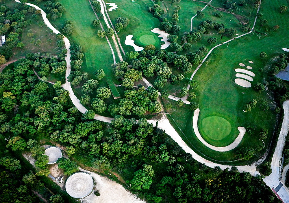 Golf course aerial view.