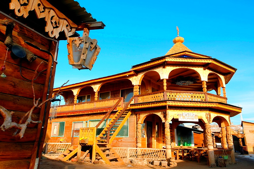 wooden manor, Lake Baikal, Siberia, Russia, Eurasia