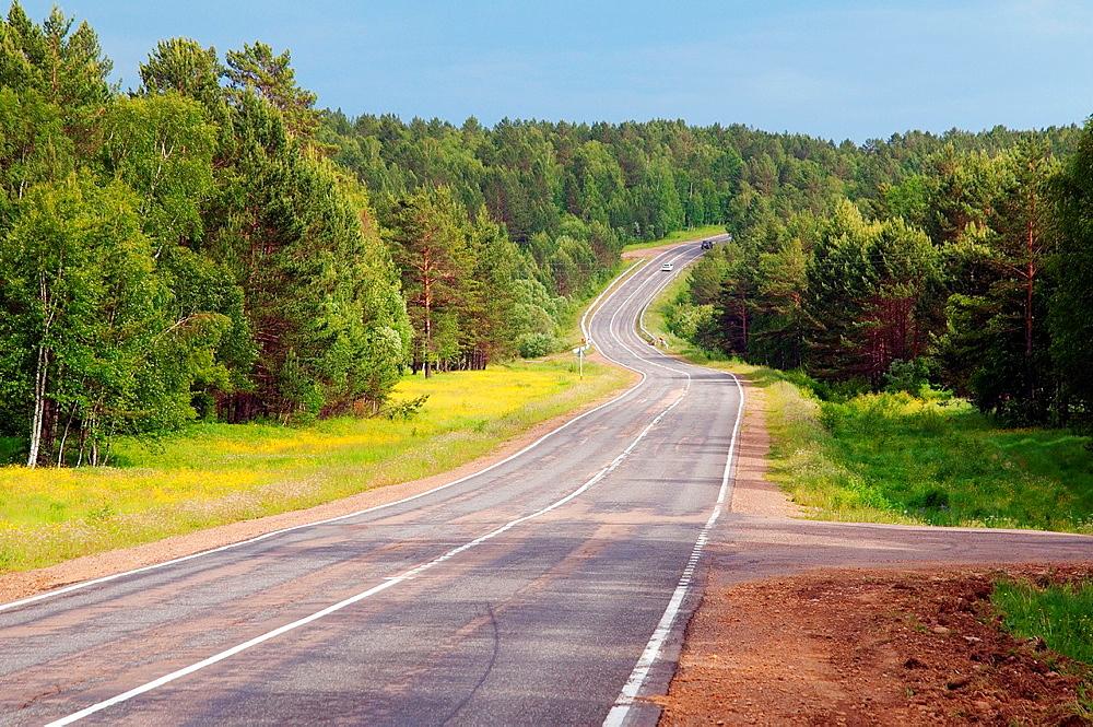 Road Irkutsk-Listvyanka, Irkutsk region, Siberia, Russian Federation